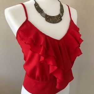 Red Crop Blouse